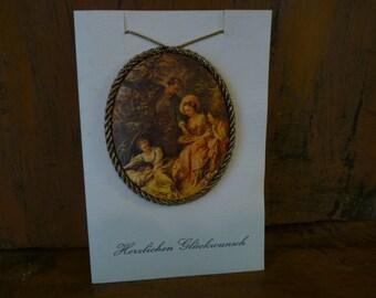 Vintage Congratulations Card, German, Herzlichen Gluckwunsch bc1