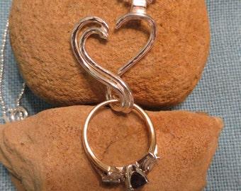 Engagement Ring Holder Necklace Silver Open Heart Charm Pendant  JJDLJewelryArt
