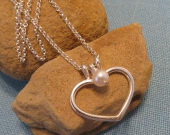 Akoya Pearl Solitaire Pendant and Heart Ring Holder Necklace Set JJDLJewelryArt