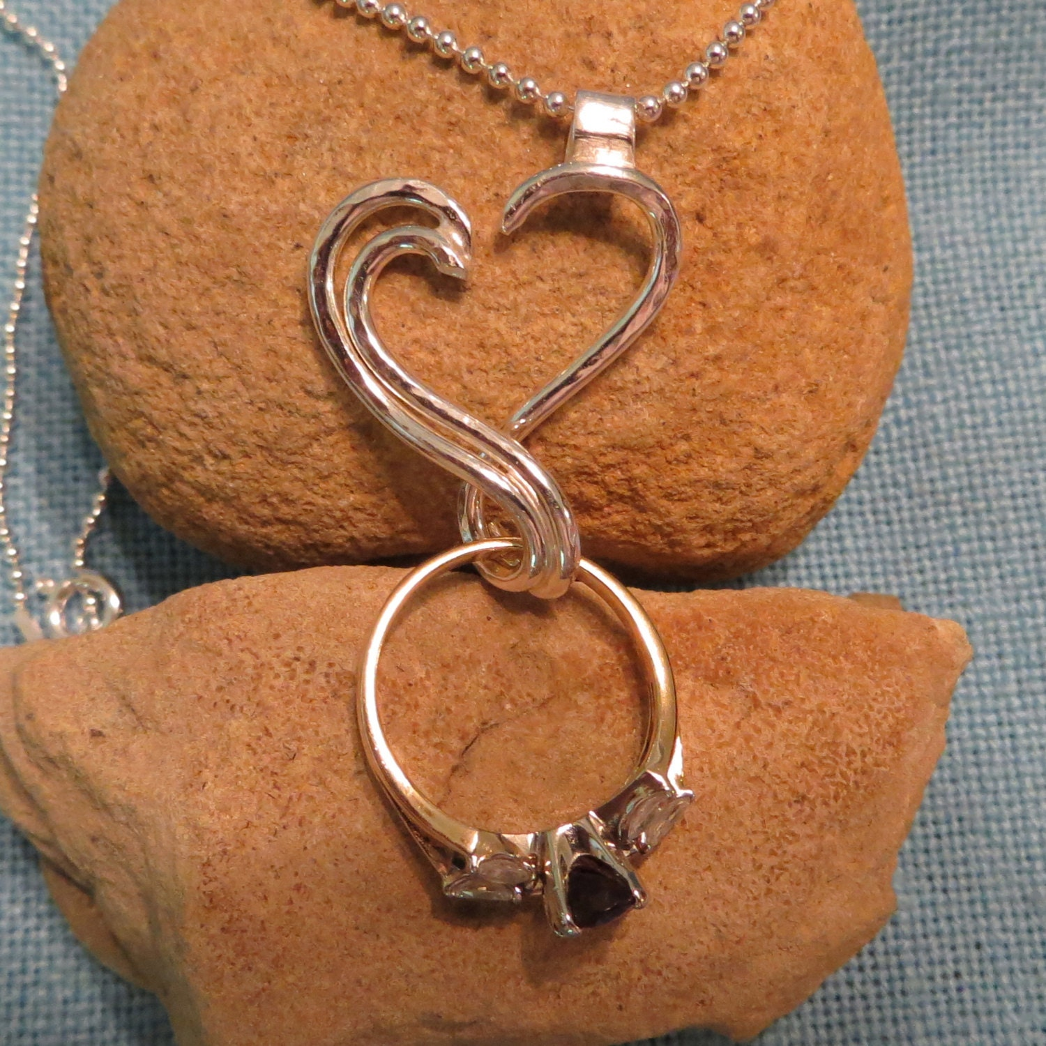 Engagement ring holder necklace silver open heart charm for Wedding ring necklace