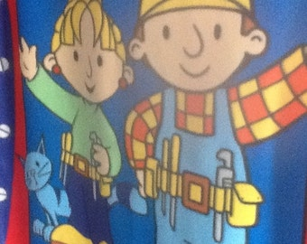 Bob the Builder fleece panel for blanket, throw, quilt top, wall hanging, etc. - Wendy and cat - 50 X 60 inches