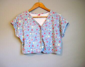 Crop Top Vintage Floral Bolero Jacket Shrug Grunge Large
