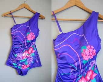 One Piece Swimsuit Floral Vintage Pinup One Shoulder Small