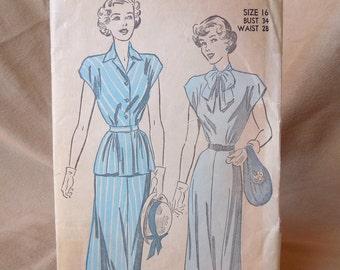 Vintage 40's Dress Pattern, Dress with Peplum, Advance 4864, Size 16, WW2, Swing, Rockabilly Style