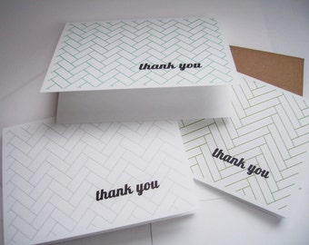 Thank You Cards - Modern Herringbone Thank You Notes, Geometric Card Set, Mint Grey Moss Green Orange Pink Yellow, Contemporary Note Cards