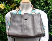SALE Chocolate leather and African print handbag