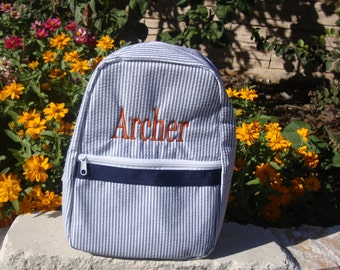 Seersucker Toddler Backpack with Child's Name Embroidered Free
