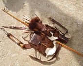 "Multifunctional Tooled Leather Quiver Holding a Bow, A Rope, a Knife and Detachable Pouch ""Wild Goat"""
