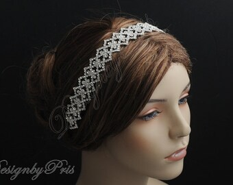 HPH8 NEW - Bridal Headpiece.Wedding Accessories.Bridal Rhinestone Ribbon Headband.Bridal Rhinestone Headband