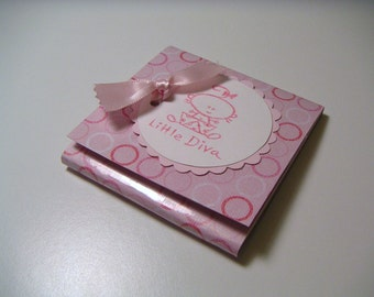 Pink Circles Sticky Notes Pad with Scalloped Tag and Baby Girl - Little Diva