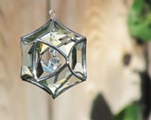 3D Faceted Glass Mobile Globe Suncatcher - Handmade Clear Glass Crystal Silver Hanging Ornament