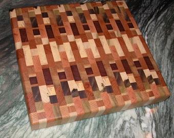 Wooden Cutting Board - Multi-Color Board with Endgrain Beauty