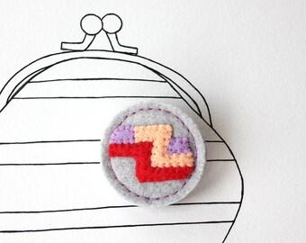 Sale - Fruit Stripe Candy Felt Brooch, Pin, Badge, Fun, Under 15 - Ready to Ship