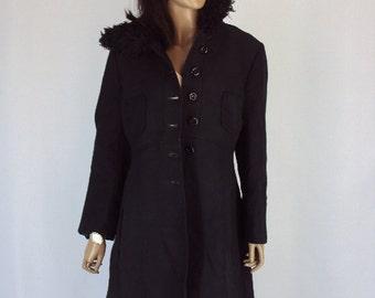 vintage coat/ vintagewool coat/ vintage coat 1950s/ vintage black coat /FREE shipping