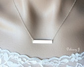 Silver Bar Necklace, Horizontal Bar Monogram Necklace, Initial Necklace, Personalized Necklace in Sterling Silver, Bridesmaid Christmas gift