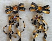 Black and Gold Long Swirl Dangle Vintage LUNCH at the RITZ Clip Earrings