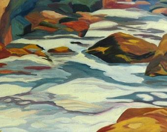 SALE River Snow Landscape Painting