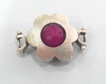 1 Pc (14 mm)   Violet Pink Connectors , Matte Silver Plated Brass Bezel  G1218