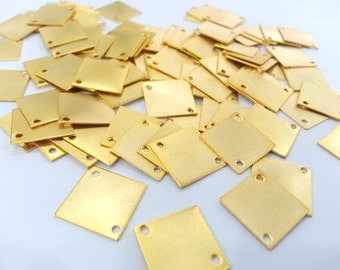 8 Pcs (14 mm) Gold Plated Brass Square Connector with Double Holes  G2253