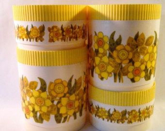 Vintage Kitchen Canisters, Set of 4, Retro Mod Floral in Sunny Yellows, Orange and Avocado, Daffodil's and Daisy's, 1970s Melmac Alladinware