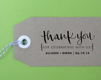 Thank You For Celebrating With Us Wedding Stamp, Handwritten Calligraphy - Personalized Stamp for Thank you notes, wedding favors- Version J