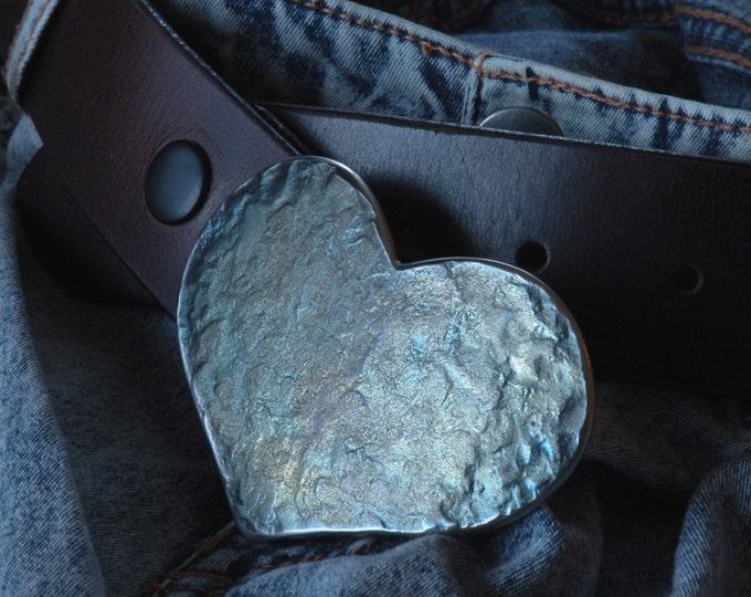 "HEART Belt Buckle Love Gift Sweet Heart Shaped Buckle Sweet 16 Gift Hypoallergenic Accessories, Original Buckle Fits 1-1/2"" Belt for Jeans"