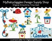 Love My Garden Blue Clip Art Digital Graphics Scrapbook Supply INSTANT DOWNLOAD