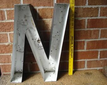 Vintage Large Slanted Metal Sign Channel Letter N