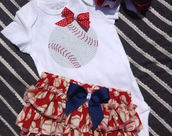 Baby girl baseball body suit /ruffled baseball bloomer/ baseball outfit/baseball coach