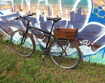 Wooden Walnut Market Bike Basket