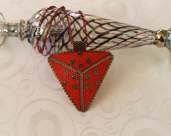 Triangle Peyote Necklace, Red Necklace,