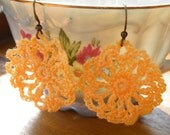 75% of this item, enter LOVE2016 at checkout.  Spring Peach Crocheted Bohemian Earrings, Lace Earrings, Floral Earrings