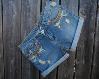 50% off this item, enter LOVE99 at checkout.  V i n t a g e Yag Jean High Waisted Shorts, Boho, Bohemian Shorts, Shorts, High Waisted Shorts