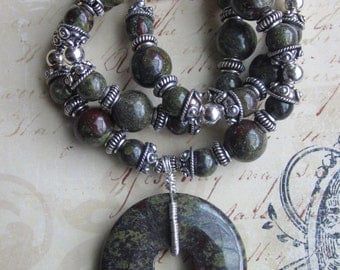 DragonHeart-- Dragons Blood Jasper and Silver bali Necklace