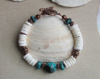 Just Beachy -- Turquoise and natural Shell Bracelet