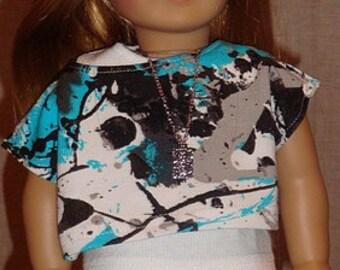 Black Denim Skirt & Paint Splatter Top For American Girl Or Similar 18-Inch Dolls