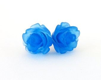 Translucent Blue Rose Stud Earrings- 10mm Surgical Steel or Titanium Post EarringsBlack Friday Sale 20% Off