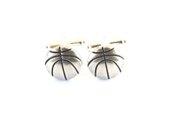 Basketball Cuff Links- Sterling Silver Ox Finish- Gifts For Men