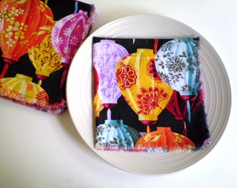 Asian Cloth Napkins, Oriental Cloth Napkins, Paper Lantern Napkins Asian Dining Room Decor, Set of 9 Napkins