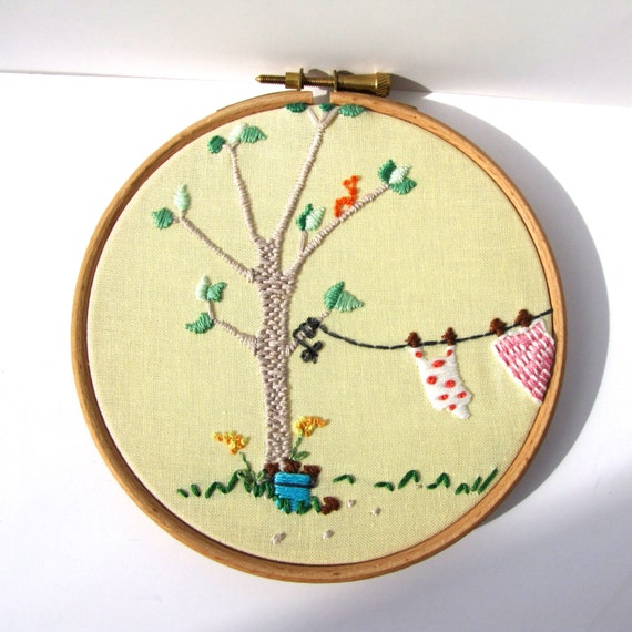 Hand Embroidered Original Picture. Yellow. Pretty Round Art Decor ready for display. 5 x 5 Inch. Been Swimming by mirrymirry