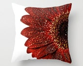 Gerbera Daisy Pillow Cover Home Decor Cushion Cover Photography Print Polyester Crimson Red Black White Pillow Case - CrystalGaylePhoto