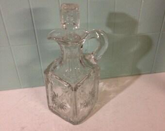 Large Vintage Pressed Glass Cruet