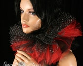 Three layer tulle collar neck cuff clown black red sparkle halloween costume tie on harliquin -- SistersEnchanted