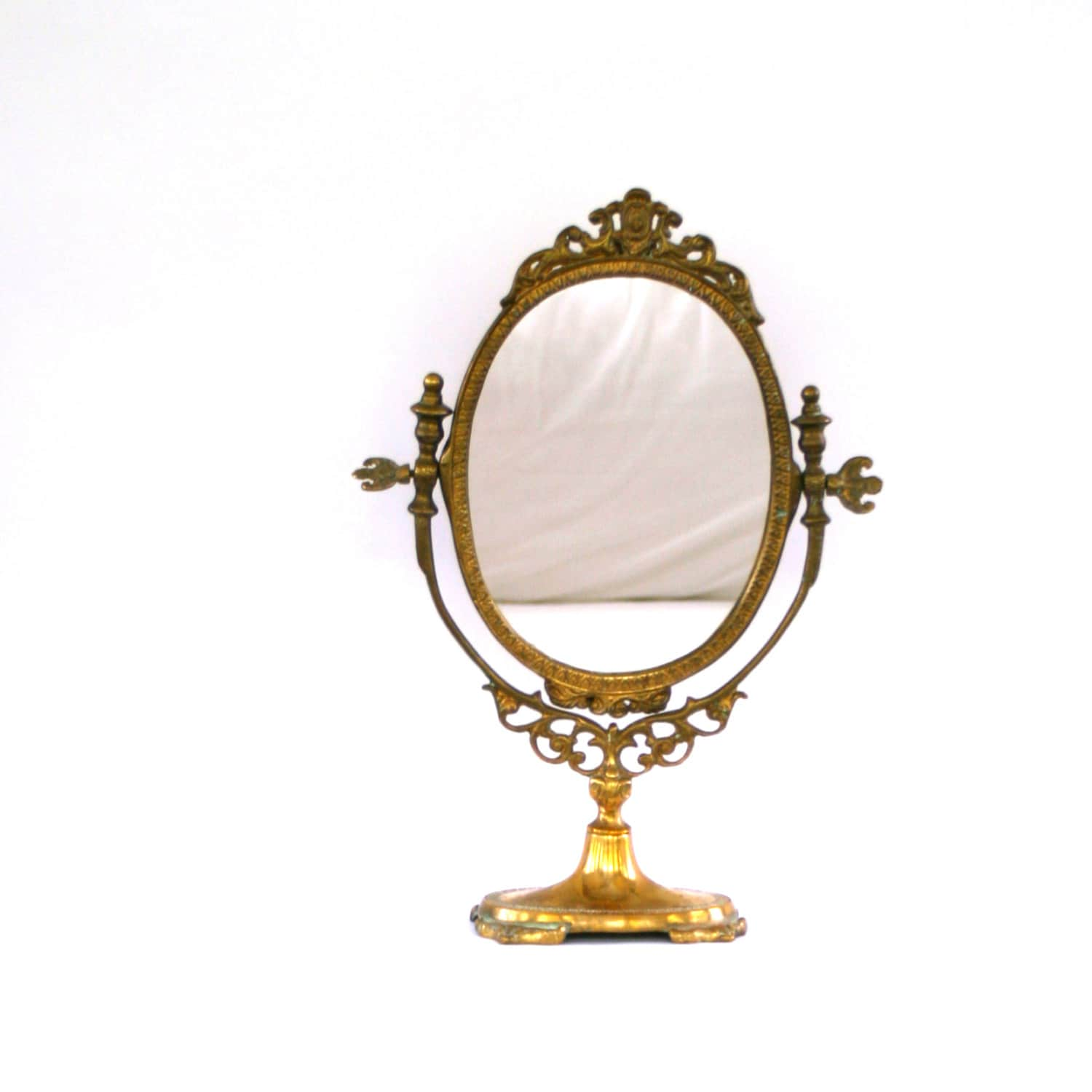 Antique Vanity Mirror with Stand. Makeup Ornate Mirror.