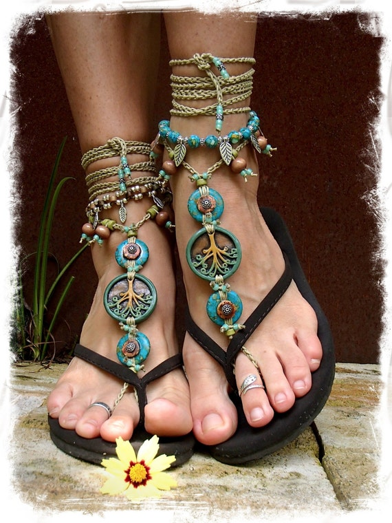 Yggdrasil Tree Of Life Barefoot Sandals Turquoise Stone By