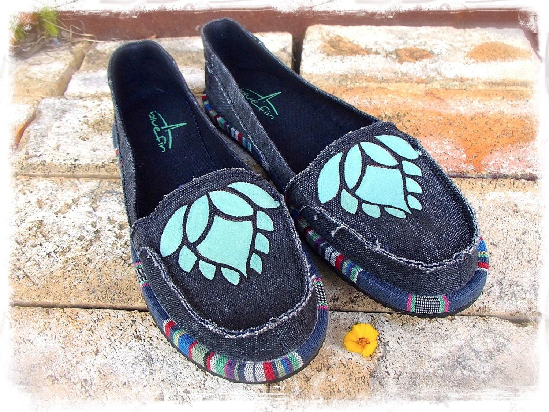 mint green lotus canvas shoes black denim wash espadrilles