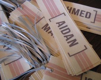 Custom Personalized Twill Ribbon Bookmarks - set of 4