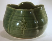 Hand Carved Bowl Vase in Ivy Green