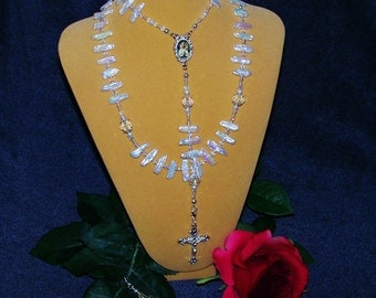 SALE! NOW 25% OFF - Convertible Biwa Pearl and Swarovski Crystal Rosary/Necklace