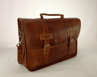 "DIAZ 13"" Genuine Leather Briefcase / Laptop Satchel / Messenger Shoulder Bag in Crazy Horse Tanned Brown - MacBook Air Pro"